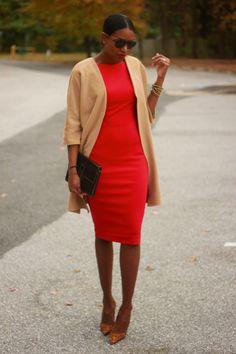 DIY camel coat and red dress- Beaute' J'adore