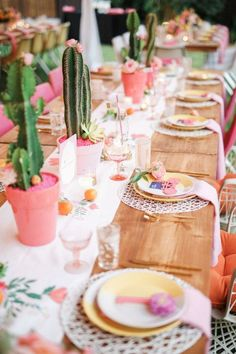 Cactus centerpiece!! LOVE. // Katie and Brian's Bright and Creative Palm spring party inspiration. Pink, green rustic, timber, so lovely