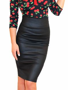 "Women's ""Vinyl Vixen Pinup"" Pencil Skirt by Demi Loon (Black) #InkedShop #pencilskirt #skirt #sexy #style #fashion #womenswear"