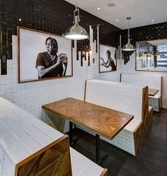 , Singapore | subway tile | booth seating | pendant lights |