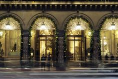 Le Meurice, Paris Fans of lights and classic pine garlands complement Le Meurice's smart Philippe Starck design. Guests can enjoy a festive package complete with Champagne and chocolate treats by Alain Ducasse's Manufacture du Chocolat waiting in their room or suite.