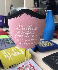 A KOOZIE your guests will definitely keep! So fun! Cheap Favors, Wedding Favors Cheap, Wedding Ideas, Personalized Wine, Personalized Wedding, Wedding Koozies, Drink Sleeves, Wine Glass, Fun