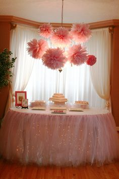 Girl Table I designed for my niece's baby shower. There are 70 yards of tulle in that table tutu!