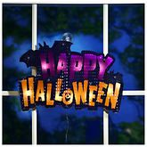 Lighted Shimmer Happy Halloween Window Decoration - Opened Item