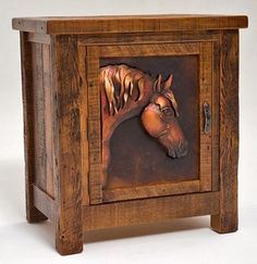 Rustic barn wood end table adds so much of the love of horses to your home décor. Made from countryside barn wood with hand tapered copper inlays in the door.