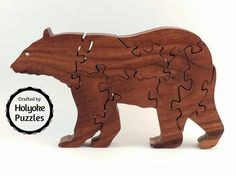 Bear wood puzzle  Stand up Jigsaw Puzzle in Walnut  Wooden