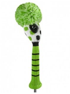 Just For Golf Knit Headcovers- White with  Lime and Black Mini Dots Hybrid