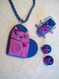 Polymer Clay Pendant, Fimo Clay, Clay Cats, Peyote Patterns, Cat Jewelry, Washer Necklace, Beads, Crafts, Clay Ideas