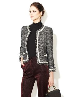 Black Fantasy Tweed Camellia Trimmed Boucle Jacket by Chanel on Gilt.com Season: Fall/Winter 2005