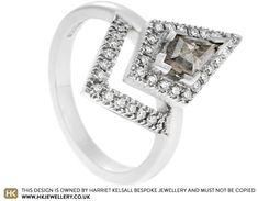 Jenny's Salt and Pepper Kite Cut Diamond Engagement Ring With Halo Salt And Pepper Diamond, Jewellery Designs, Kite, Solar System, Diamond Engagement Rings, Diamond Cuts, Halo, Diamonds, Bright