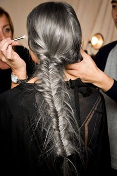 Fishtail Braid - How To Cope With Going Grey Early | Dying Grey Hair | Grey Hair Trend | Hairstyles | Http://www.rockmystyle.co.uk/going Grey/