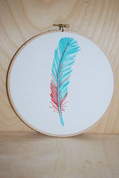 Feather . Embroidery Hoop Art . Ready To Ship. $20.00, via Etsy.
