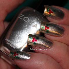 Pinned by www.SimpleNailArtTips.com CHRISTMAS NAIL ART DESIGN IDEAS - Holly berries holiday nail art