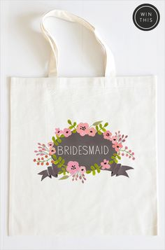 Bridesmaid custom tote bag. #weddingchicks http://www.weddingchicks.com/2014/06/23/bridesmaid-wedding-giveaway/