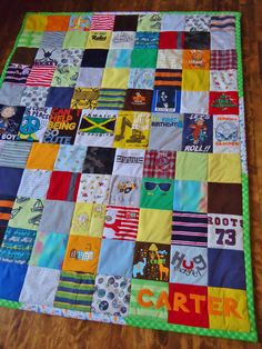 Baby clothes quilt: so cool but I would never know how to make one. I don't own a sewing machine...I wouldn't know how to use one if I