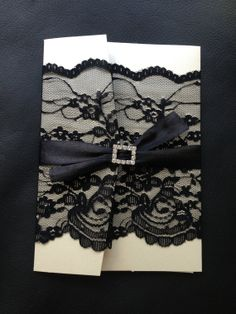 Elegant Lace Pocket Fold Wedding Invitation with Rhinestone Buckle - Champaign / Black (but not with black)