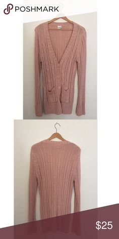 "NOVEMBER SALE! Light Pink Cable Knit Cardigan Long, Light Pink, Cable Knit, Cardigan Sweater. Designer: Essentials by Full Tilt, sold at Tillys. Size XL. 100% Acrylic. Length: 32"". Armpit to Armpit: 22"". Full Tilt Sweaters Cardigans"