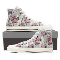 59b623ff744d Floral Pattern Vintage Womens High Top Shoe Printed Sneakers