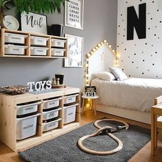 L - kinderzimmer mommo design: 10 IKEA TROFAST HACKS There are some other tricks of the painted furn Ikea Boys Bedroom, Baby Bedroom, Baby Boy Rooms, Childs Bedroom, Bedroom Furniture, Teen Shared Bedroom, Ikea Bedroom Design, Gamer Bedroom, Lego Bedroom