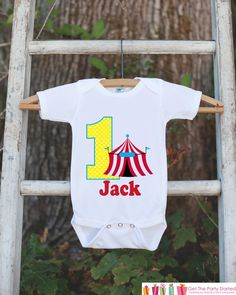 First Birthday Carnival Outfit - Personalized Carnival Bodysuit For Boy's 1st Birthday Party - Circus Bodysuit Birthday Shirt w/ Name & Age