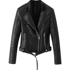 Faux Leather Belted Biker Jacket ($48) ❤ liked on Polyvore featuring outerwear, jackets, zaful, vegan motorcycle jacket, rider jacket, fake leather moto jacket, faux leather moto jacket and vegan jackets