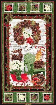 Country Holiday Skates Sleigh Wreath Christmas Timeless Treasures Fabric Panel #TimelessTreasures