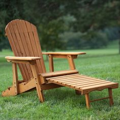 Coral Coast Big Daddy Reclining Tall Wood Adirondack Chair with Pull-out Ottoman - Natural
