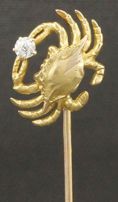 Vintage, Solid 18K Yellow Gold & Diamond, Cancer, Astrological, Zodiac, Crab Pin