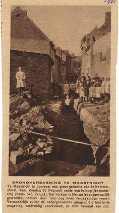 Grondverzakking in de Kemmelstraat.