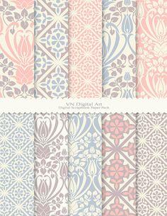 "Antique Pattern Digital Scrapbook Paper Pack (8.5x11""-300 dpi) -- Instant Download -- 10 Digital papers -- 454"