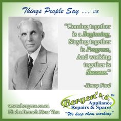 Henry Ford was an American Industrialist and business magnate and the founder of the Ford Motor company. Taking a page out of his book of expertise we are learning from someone who left a legacy behind. #workingtogetherissuccess #wekeepthemworking #bergensappliancerepairs #bergensdurban  Follow us on Instagram and Pinterest Contact:  066 306 0675 Email: durban@bergens.co.za