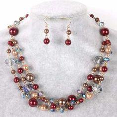 Set Collar Pulsera Y Aretes  Perla Y Cristal  Bisuteria Fina - $ 125.00