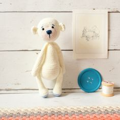 The teddy bear pictured in the pattern was made using StyleCraft DK yarn and a 2.0 mm hook. However, you can use whatever yarn and whatever hook you like.