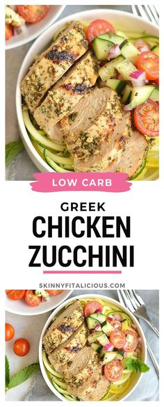 Low Carb Greek Chicken with Zucchini Noodles! An easy recipe with a lemony twist. Easy Main Dish Recipes, Easy Chicken Dinner Recipes, Gluten Free Recipes For Dinner, Healthy Chicken Recipes, Paleo Recipes, Healthy Dinner Recipes, Healthy Low Calorie Meals, Zoodle Recipes, Greek Chicken