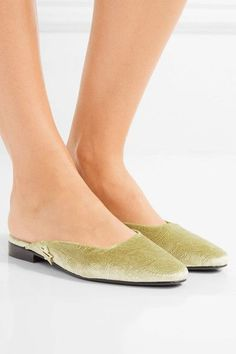 MR by Man Repeller - The Morning After Embossed Velvet Flats - Gold - IT38.5