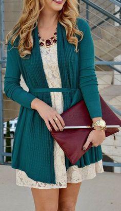 Fabulous long cardigan and lace dress