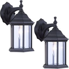 2 Pack Wall Mounted Rainbow Lighting 5021 1-Bulb Outdoor Exterior Clear Glass Decorative Lantern Fixture, Black