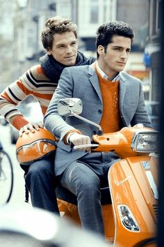 It must be hard matching both your wardrobes to your disgustingly coloured moped... ;p