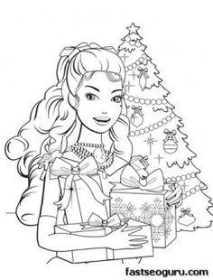 Printable barbie girl with Christmas tree and gifts coloring pages - Printable Coloring Pages For Kids
