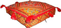 Gujarati hand made mirror embroider square floor seat ottoman pouf stool pillow/cushion cover ethnic decoration art Garden Bedroom, Floor Seating, Decorate Your Room, Pouf Ottoman, Table Covers, Floor Pillows, Pillow Inserts, Hand Embroidery, Ethnic