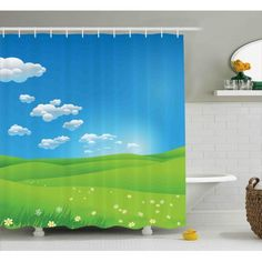 Landscape Shower Curtain, Cartoon Scenery Clouds Valley Hills Grass Sunbeams Flowers Artprint Image, Fabric Bathroom Set with Hooks, 69W X 75L Inches Long, Blue White Green, by Ambesonne #whitebathrooms