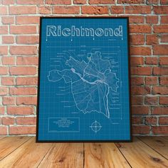Richmond, Virginia Map - Blueprint Style. Modern graphic design and traditional blueprint style come together to create these original artwork maps. Highlights include streets, highways, water features and points of interest unique to each city. Hand signed and numbered, every map is a one of a kind conversation starter for your home or office. Share the story of your favorite adventure or be inspired to start your next one. All maps are printed on premium heavyweight semi-matte paper…