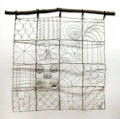 Wire quilt art by Jan. Approximately x with a natural wood branch hanger. Handcrafted with 15 gauge wire.wire quilt art - thinking of doing this on a sheet with multiple blocks using various colors of thread for the design. Sculptures Sur Fil, Sculpture Art, Wire Sculptures, Abstract Sculpture, Bronze Sculpture, Chicken Wire, Wire Crafts, Teaching Art, Art Education