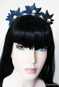 Navy Faux Leather Lotus Flower Berry Crown by Missie77artJewellery