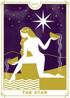 The Star from the Everyday Tarot. This deck blends classic imagery with decorative simplicity. Major Arcana Cards, Tarot Major Arcana, Tarot Tattoo, Star Tarot, Rider Waite Tarot, Pagan Art, Bullet Journal Themes, Indian Paintings, Art Paintings