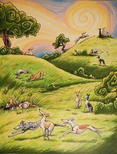 WHIPPET WONDERLAND Original Artwork by SUPATOON on Etsy, $150.00  Makes me think of Devo in whippet heaven