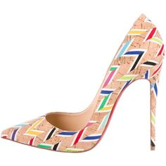 Pre-owned Christian Louboutin Printed Pigalle Follies Pumps ($495) ❤ liked on Polyvore featuring shoes, pumps, neutrals, multi coloured shoes, pointy-toe pumps, colorful pumps, multi colored pumps and tan shoes