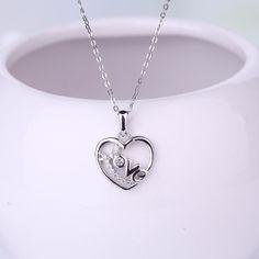 JO WISDOM Fine Jewelry Silver 925 Jewelry Bijouterie Heart Necklaces Heart Pendants with CZ Ladies Costume Jewelery Pendant //Price: $US $13.61 & FREE Shipping //     #hashtag3