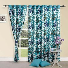 Buy Swayam Leafy Printed Blue Door Curtain with Eyelet Online - Floral Door Curtains - Furnishings - Home Decor - Pepperfry Product Unique Ceiling Fans, Outdoor Ceiling Fans, Contemporary Curtains, Flush Mount Ceiling Fan, Kitchen Island With Seating, Printed Curtains, Door Curtains, Leaf Prints