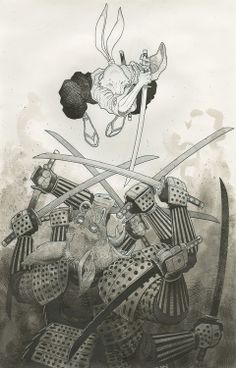Usagi Yojimbo by Arthur Adams * Comic Book Artists, Comic Book Characters, Comic Artist, Comic Books Art, Usagi Yojimbo, Character Art, Character Design, Ninja Turtles Art, Kawaii